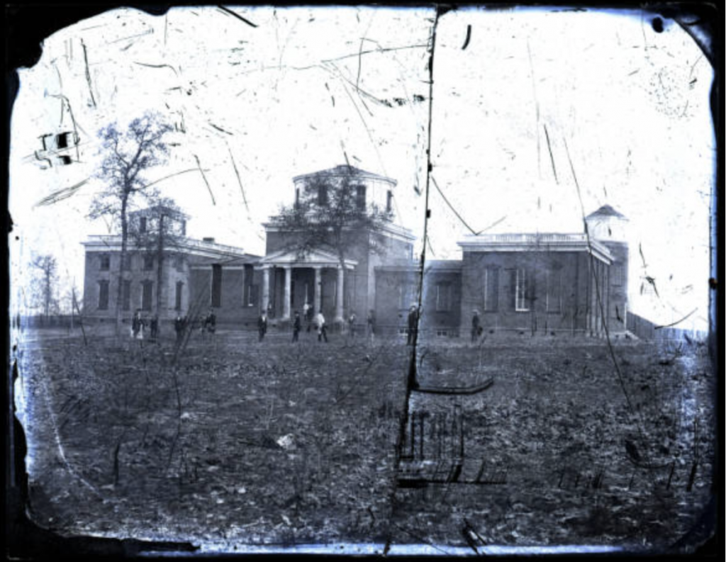 Observatory building exterior, students in front, collodion glass plate negative by Edward C. Boynton, c. 1856–61, The Department of Archives and Special Collections, J.D. Williams Library, The University of Mississippi.