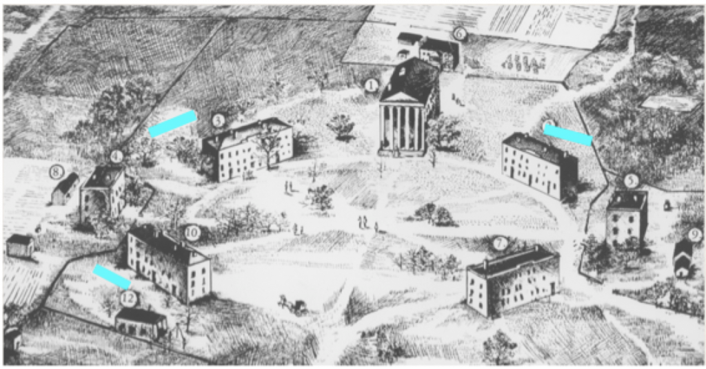 """Deborah Freeland's drawing, """"The University of Mississippi Campus, 1861"""" showing the possible location of outbuildings that may have been slave quarters"""