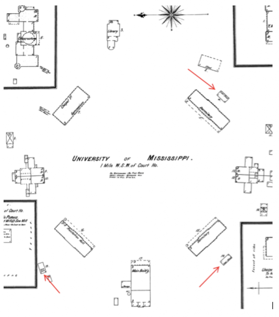 """1895 Sanborn Map of UM Campus, red arrows showing outbuildings behind student dormitories, here labeled """"coalsheds"""""""