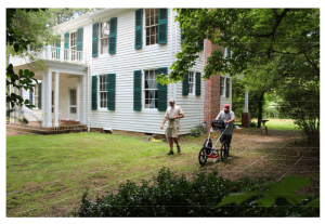 Conducting a ground-penetrating radar survey behind the main house at Rowan Oak.