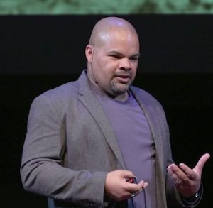 Don Guillory, a UM doctoral student in history, presents his research on slavery and enslaved people in Oxford during the 2020 TEDxUniversityofMississippi presentation in February. UM photo